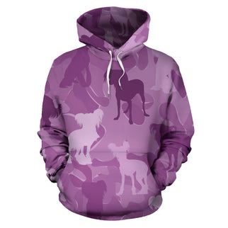 Chinese Crested Pink All Over Print Camouflage Hoodie - JillnJacks Exclusive - Jill 'n Jacks