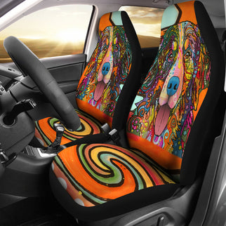 Bernese Mountain Design Car Seat Covers Colorful Back- Dean Russo Art