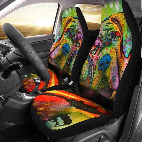 Mastiff Design Car Seat Covers Colorful Back- Dean Russo Art