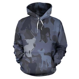 Chinese Crested Dark Blue All Over Print Camouflage Hoodie - JillnJacks Exclusive - Jill 'n Jacks