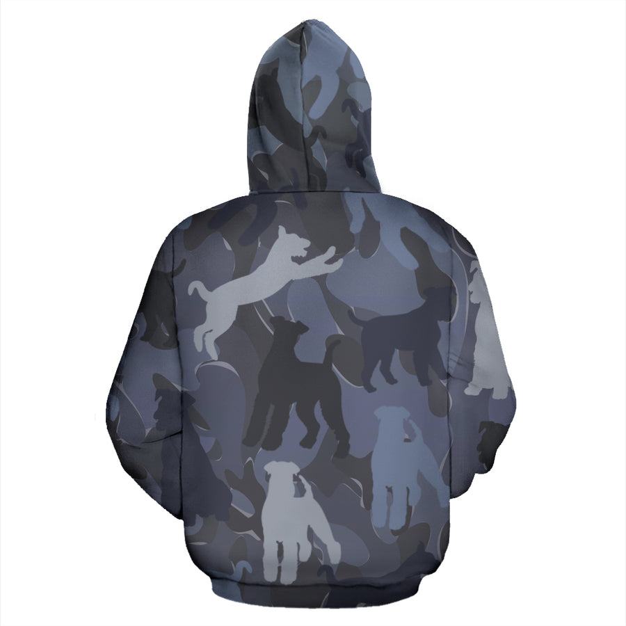 Airedale Terrier Dark Blue All Over Print Camouflage Hoodie - JillnJacks Exclusive