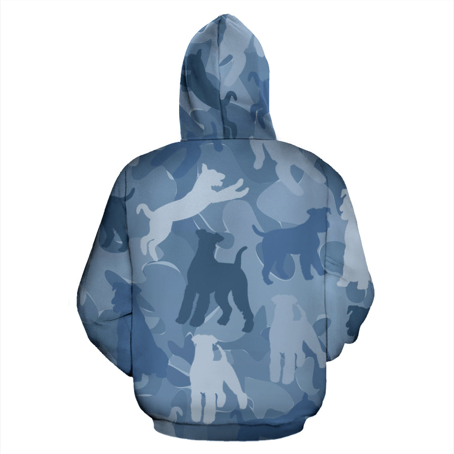 Airedale Terrier Light Blue All Over Print Camouflage Hoodie - JillnJacks Exclusive
