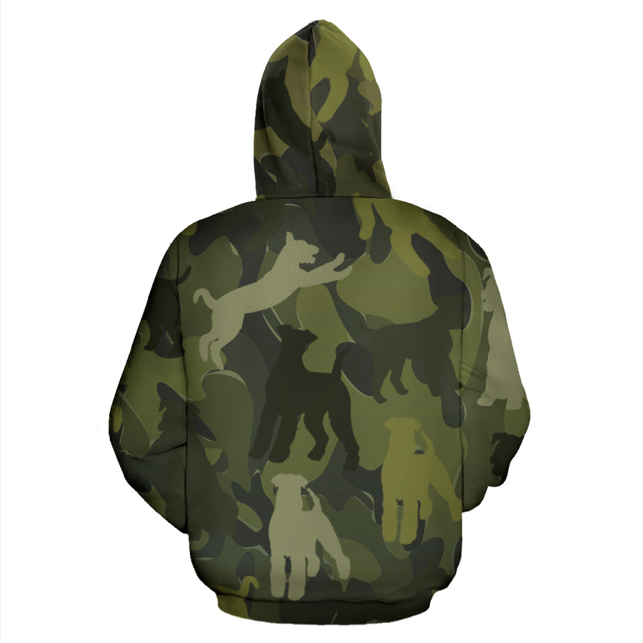 Airedale Terrier Dark Green All Over Print Camouflage Hoodie - JillnJacks Exclusive