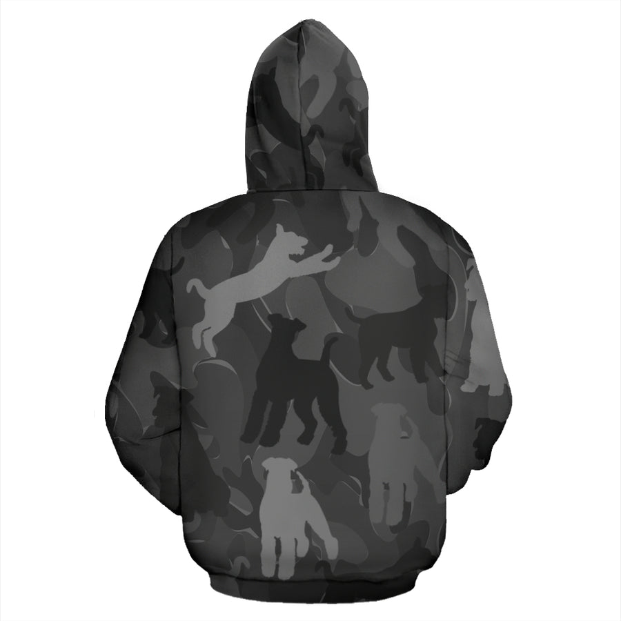 Airedale Terrier Dark Grey All Over Print Camouflage Hoodie - JillnJacks Exclusive