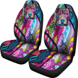 Pit Bull Design Car Seat Covers Colorful Back- Dean Russo Art