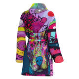 Pit Bull Design Women's Bath Robe - Dean Russo Art