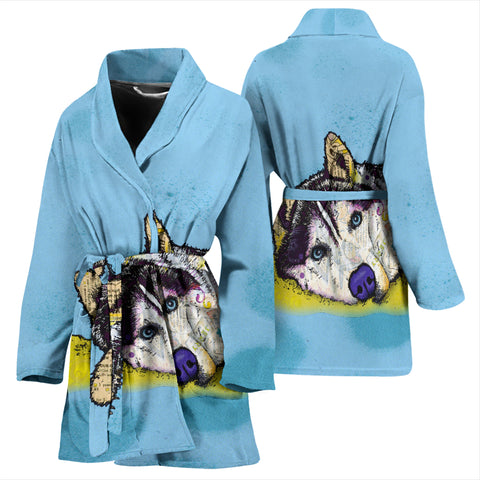 Husky Design Women's Bath Robe - Dean Russo Art