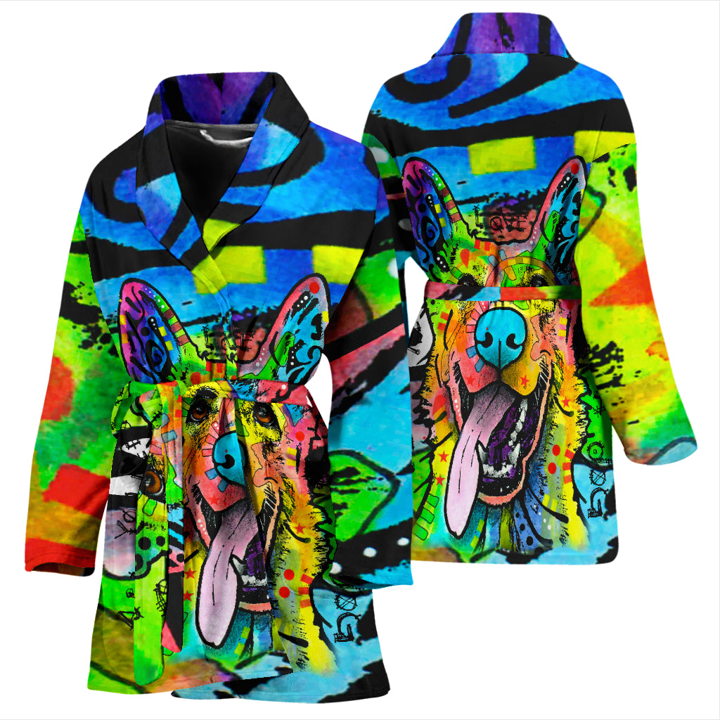 German Shepherd Design Women's Bath Robe - Dean Russo Art - Jill 'n Jacks