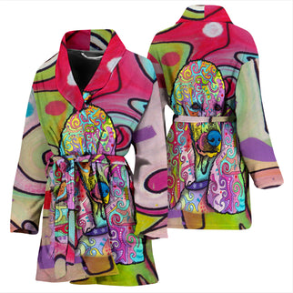 Poodle Design Women's Bath Robe - Dean Russo Art