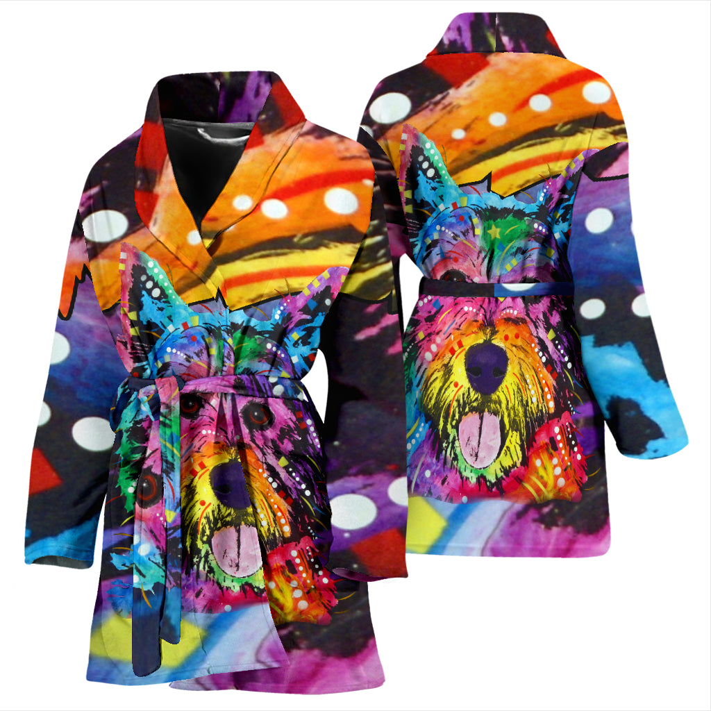 Westie Design Women's Bath Robe - Dean Russo Art
