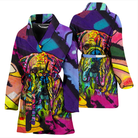 Bulldog Design Women's Bath Robe - Dean Russo Art