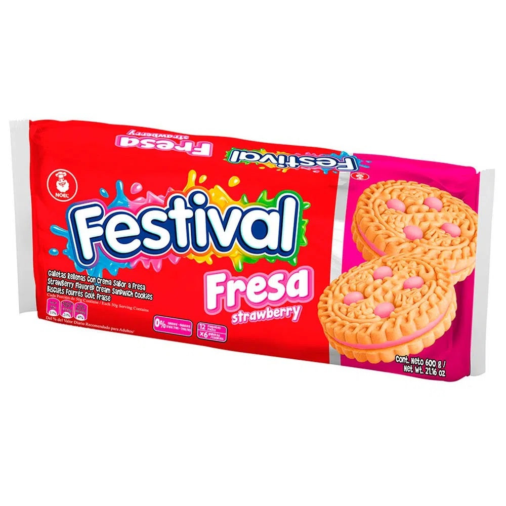 Festival Strawberry Cookie Noel Pack of 12 (600g)