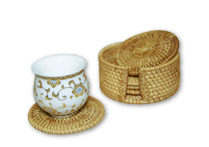 Handmade Bamboo Rattan Drink Coaster Set Cup