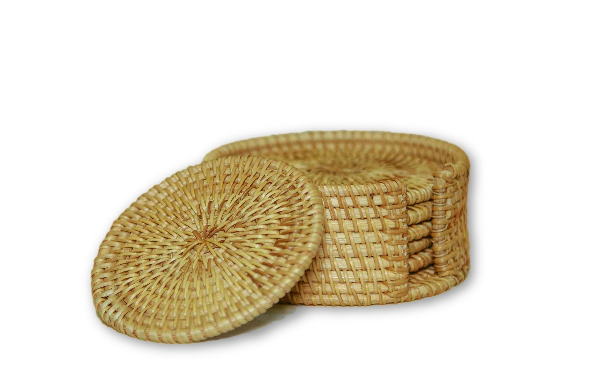 Handmade Bamboo Rattan Drink Coaster Set Side