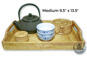 Handmade Bamboo Rattan Serving Tray Medium
