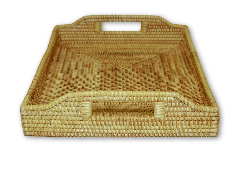 Handmade Bamboo Rattan Serving Tray Side