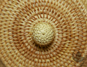 Handmade Bamboo Rattan Round Storage Container Box Knob Close