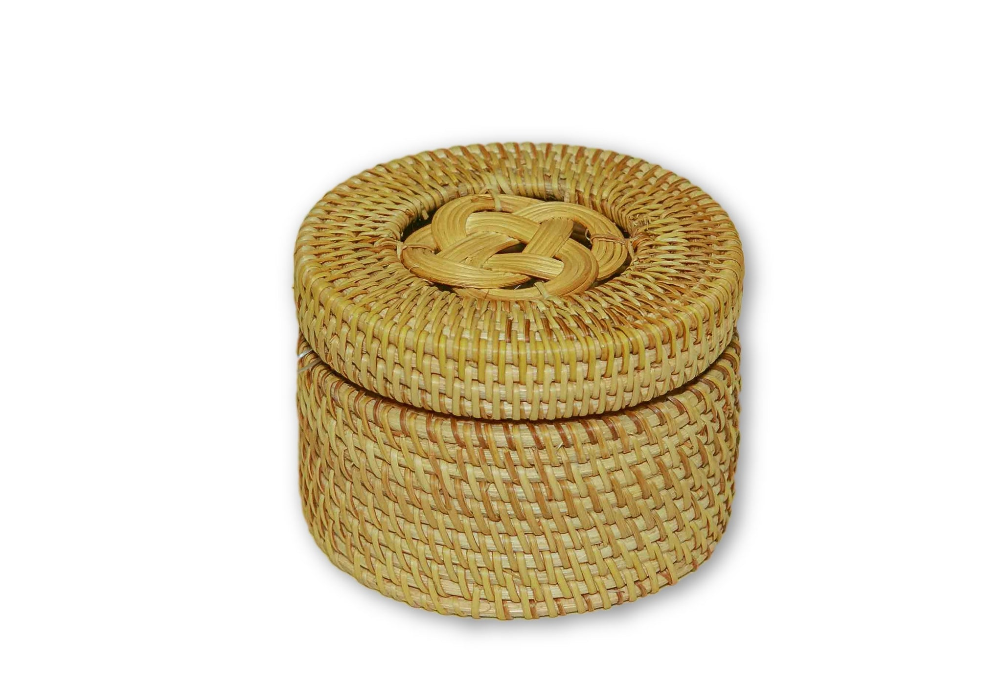 Handmade Bamboo Rattan Round Storage Container Box Closed