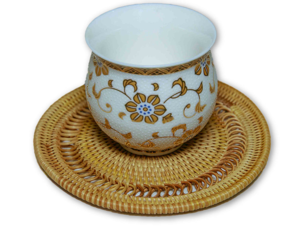Handmade Bamboo Rattan Tea Cup Coaster Rings Model