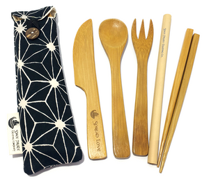bamboo utensil set handmade mini pouch black