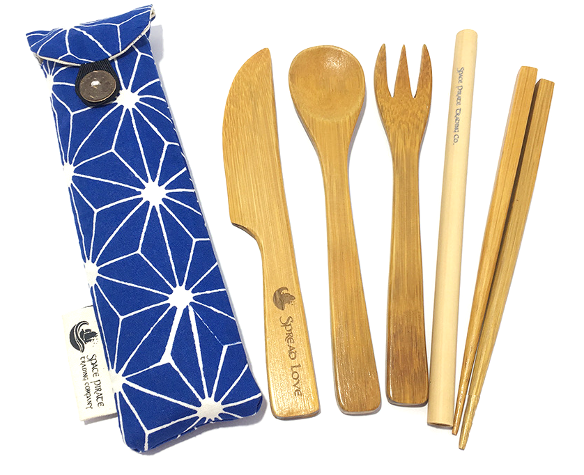 bamboo utensil set handmade mini pouch blue
