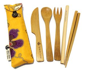 bamboo utensil set handmade mini pouch yellow