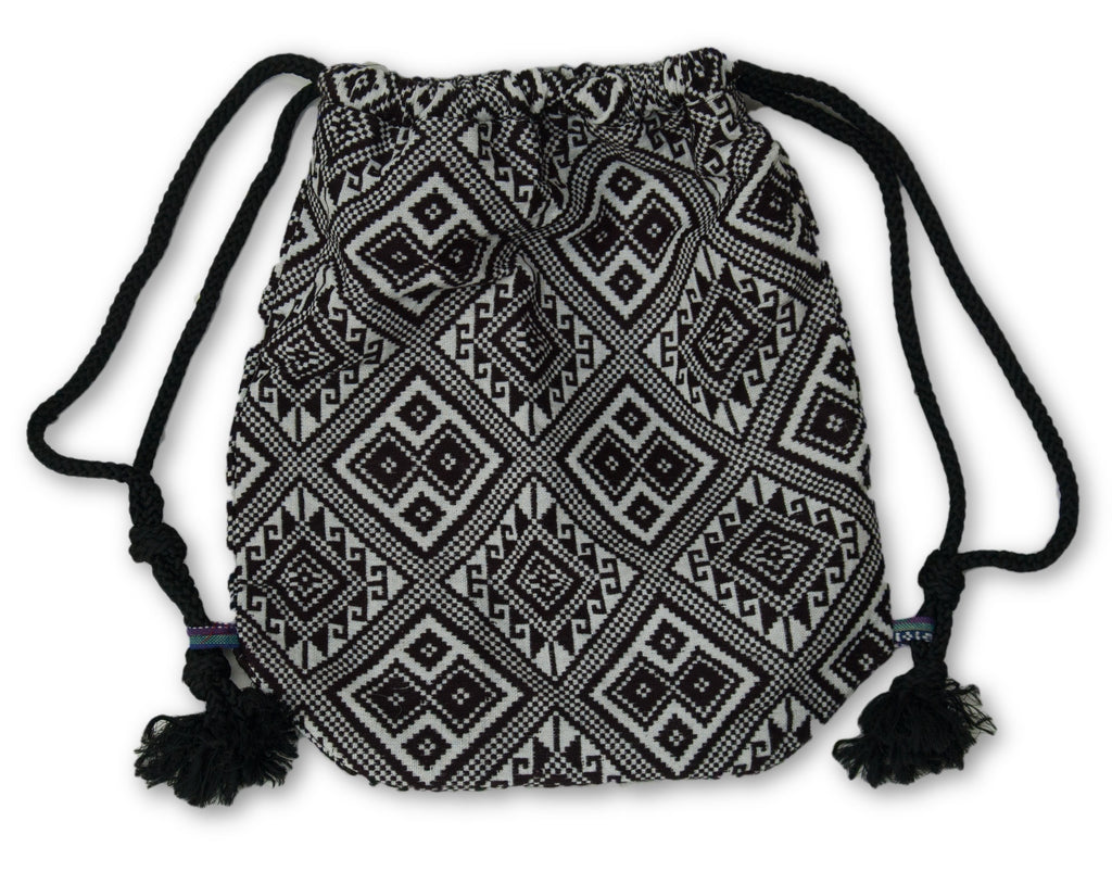 Drawstring Bag Backpack with black white pattern fabric