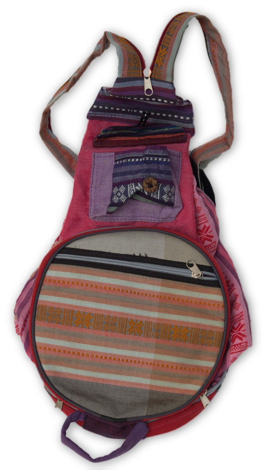 Medium Folding Backpack with Woven Pattern Fabric