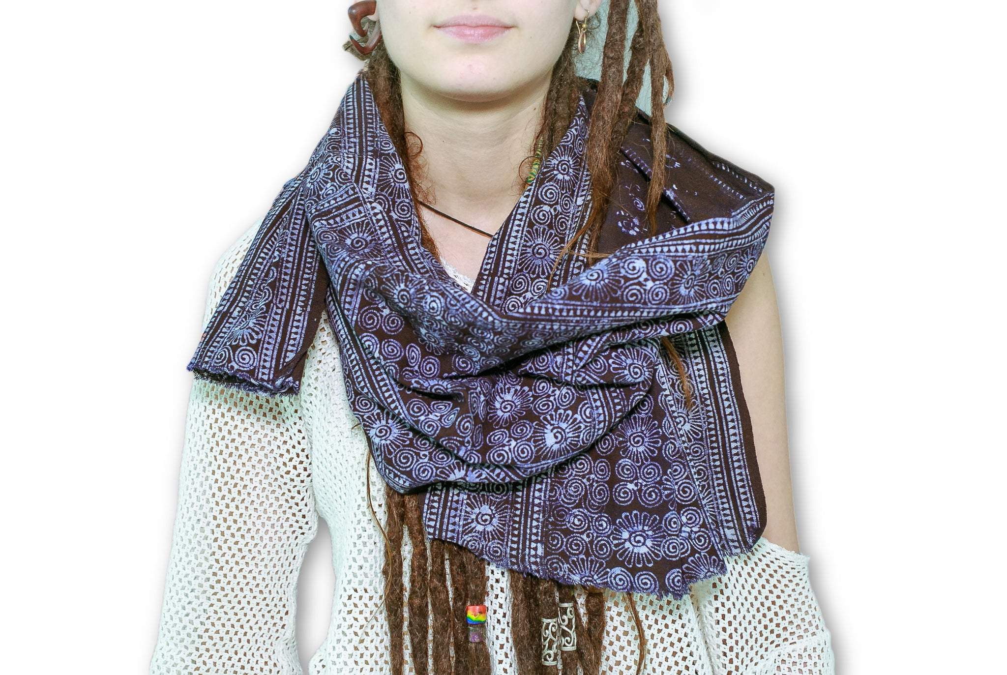 Hmong Cotton Batik Indigo Dye Scarf Model