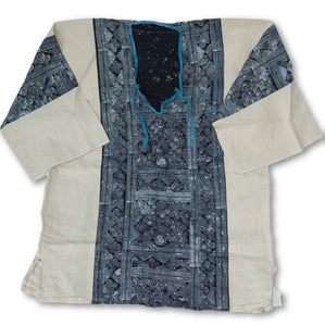 Hmong White Cotton Batik Shirt
