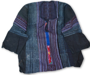 Hmong Cotton Stitched Batik Shirt Long Sleeve 1