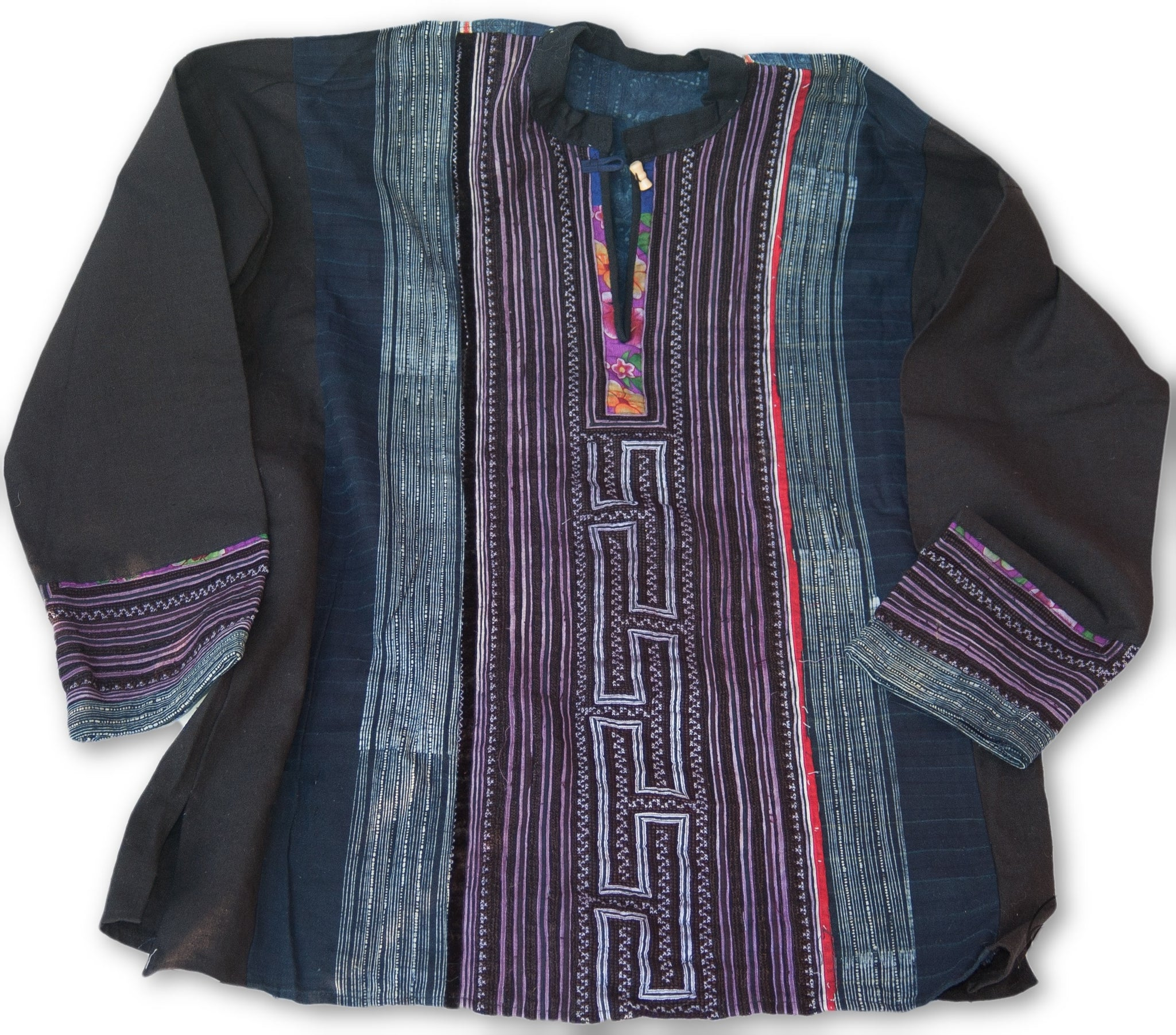 Hmong Cotton Stitched Batik Shirt Long Sleeve 2