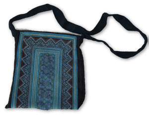 Hmong Cotton Shoulder Tote Bag with Zipper