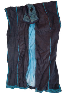 Hmong Hemp Indigo Vest with Stitched Collar