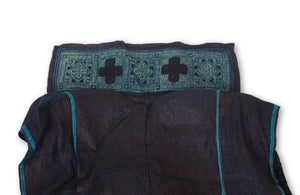 Hmong Hemp Indigo Vest with Stitched Collar 1 Close