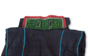 Hmong Hemp Indigo Vest with Stitched Collar 2 Close