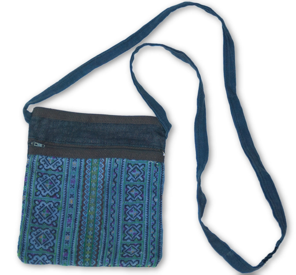 Hmong Hemp Zipper Pouch with Strap