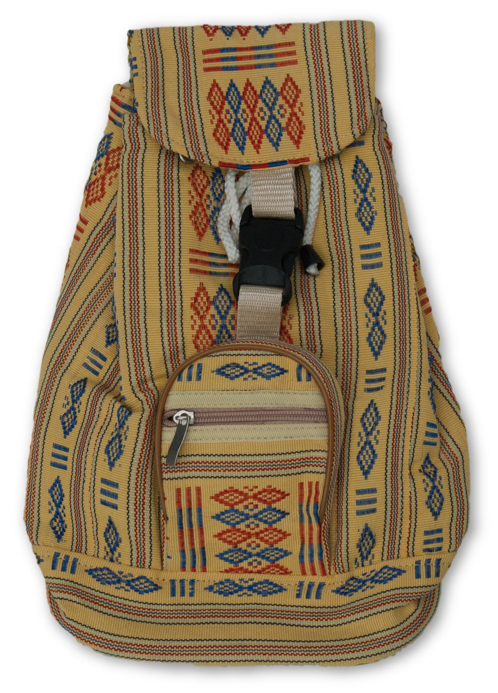Small Backpack with Woven Pattern Fabric
