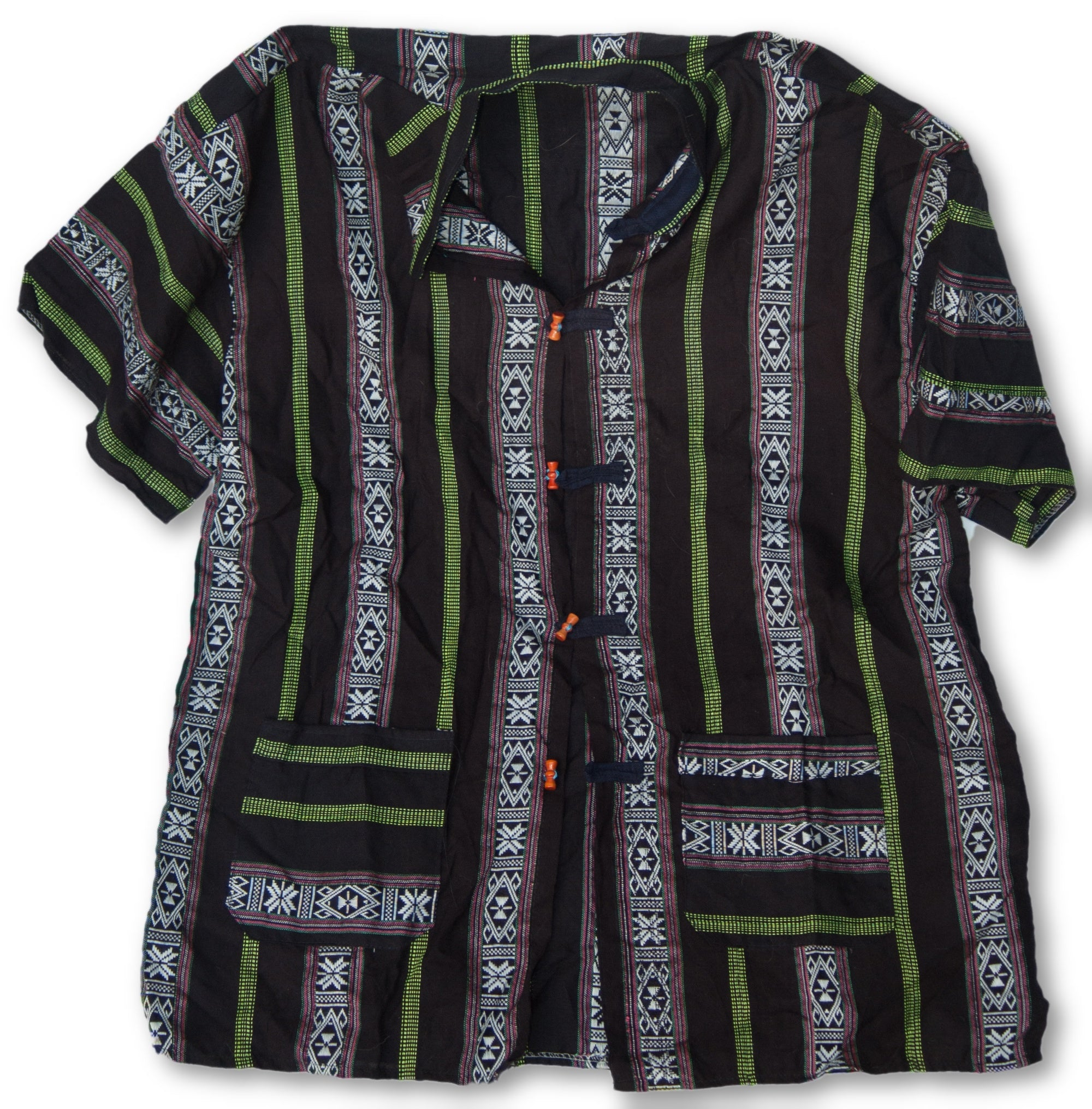 Thai Style Vietnam Short Sleeve Shirt Black White Green