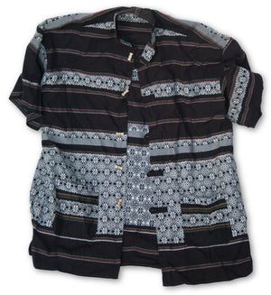Thai Style Vietnam Short Sleeve Shirt Black White Rasta Pattern