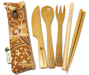 bamboo utensil set handmade mini pouch light brown