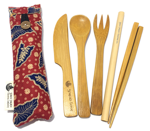 bamboo utensil set handmade mini pouch red