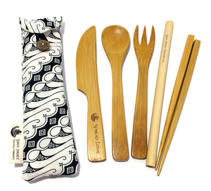 bamboo utensil set handmade mini pouch white