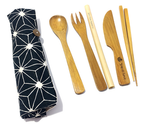 Bamboo Utensil Set with Place Mat Pouch