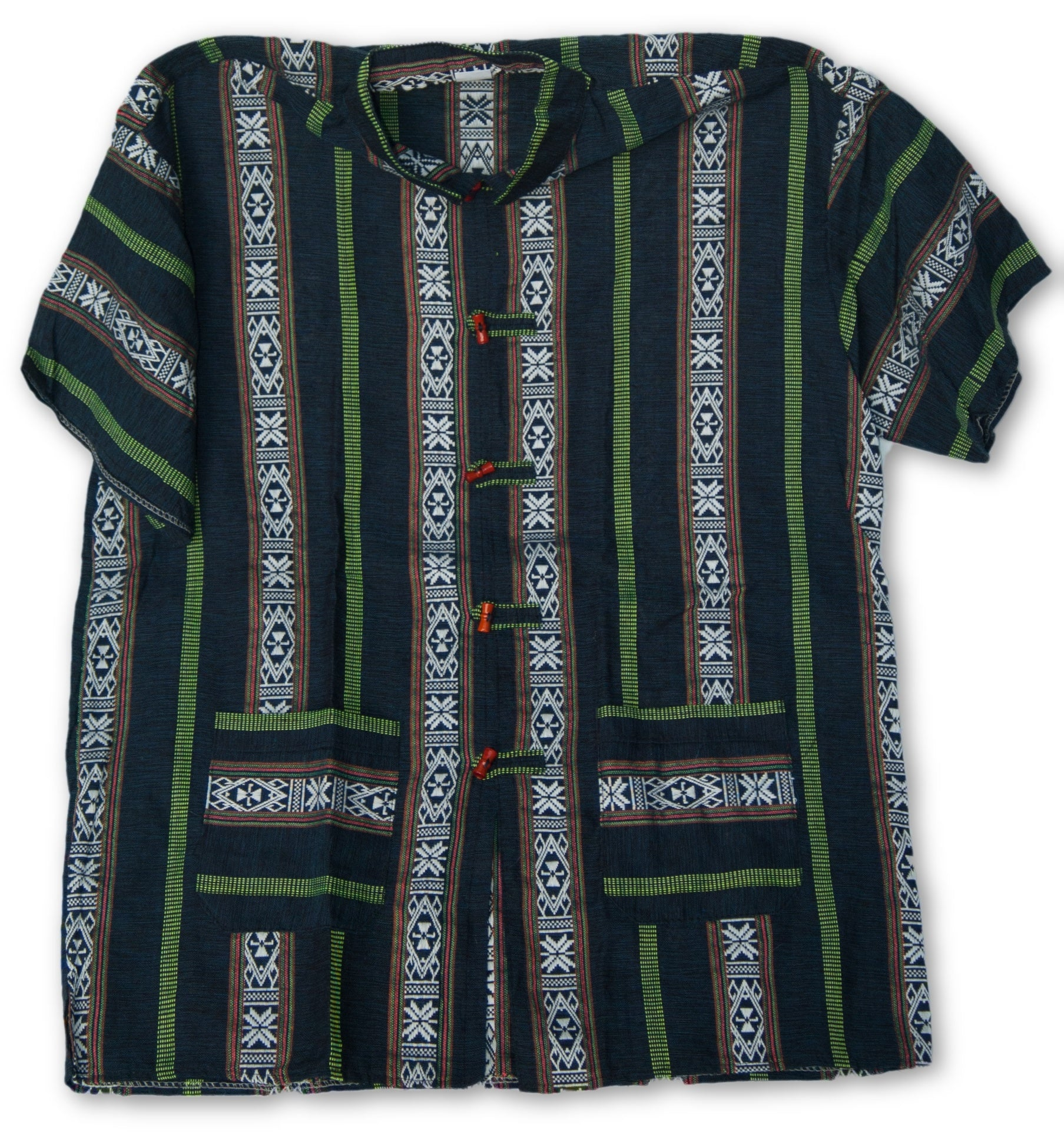 Thai Style Vietnam Short Sleeve Shirt Black Blue White Green