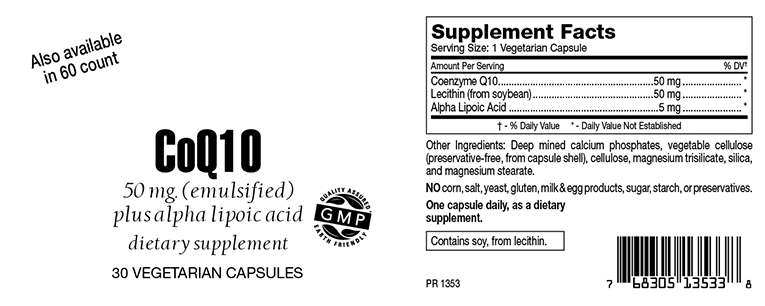 CoQ10 Emulsified Capusles with Lecithin & Alpha Lipoic Acid 50mg