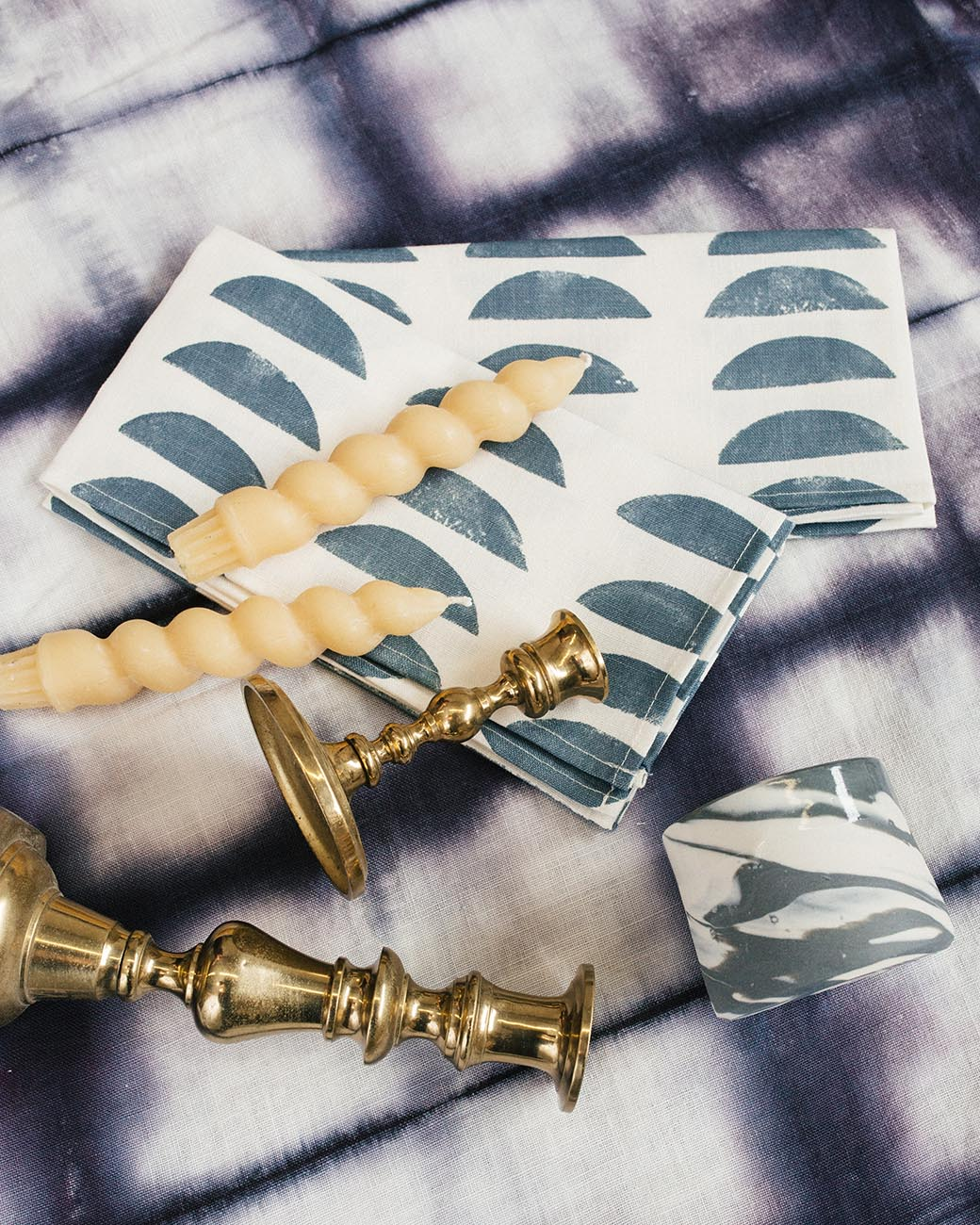 Rebecca Atwood | Setting The Table for the Holidays | Shades of Blue with Brass Accents