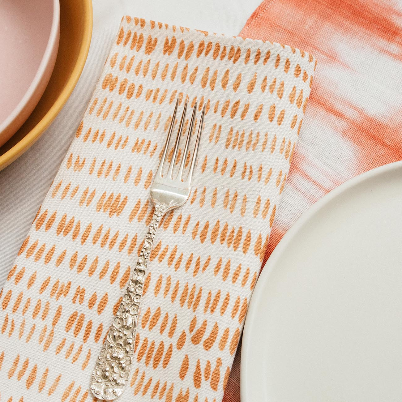 Rebecca Atwood | Setting The Table for the Holidays | Dashes Napkin in Tangerine