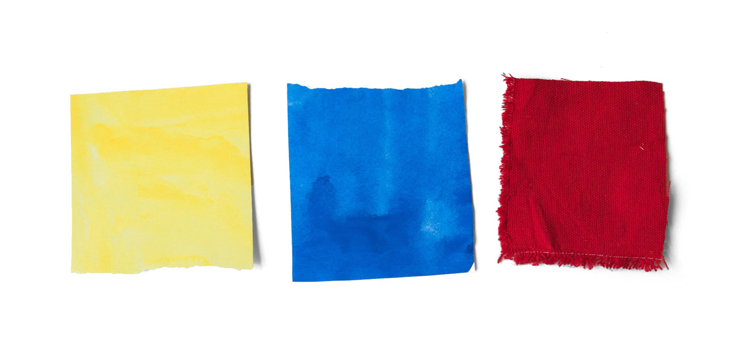 primary colors: yellow, blue and red