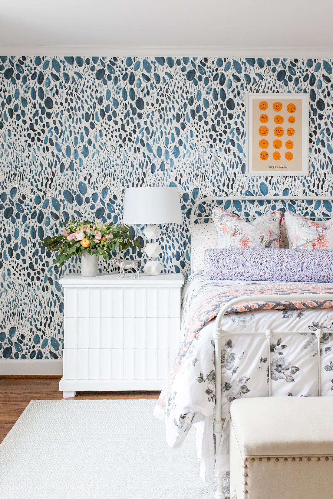 Blooms Wallpaper In Navy